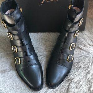 New J Crew multi buckle boots black 7.5